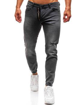 Antracitové pánské džínové jogger kalhoty Bolf 2043
