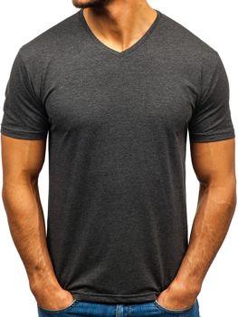 Antracitové pánské tričko bez potisku s výstřihem do V Bolf 172010-A
