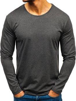 Antracitové pánské tričko s dlouhým rukávem bez potisku Bolf 172007