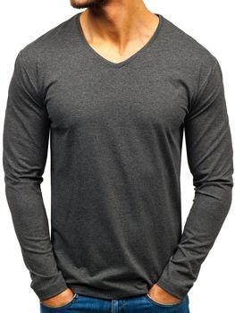 Antracitové pánské tričko s dlouhým rukávem bez potisku Bolf 172008