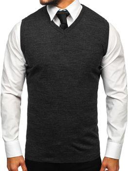 Antracitový pánský svetr bez rukávů Bolf 2500