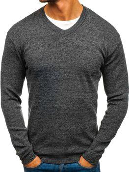 Antracitový pánský svetr s výstřihem do V Bolf H1816