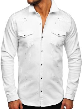Bílá pánská džínová košile s dlouhým rukávem Bolf R803