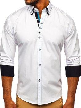 Bílá pánská elegantní košile s dlouhým rukávem Bolf 3708