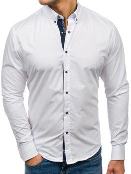 Bílá pánská elegantní košile s dlouhým rukávem Bolf 7723 bf20b68c59