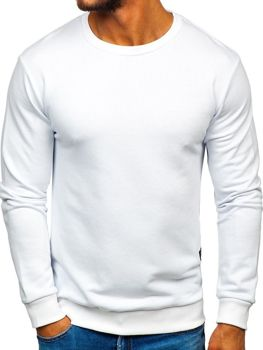 Bílá pánská mikina bez kapuce Bolf 171715