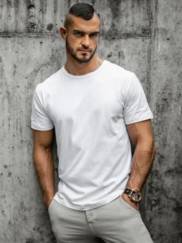 Bílé pánské tričko bez potisku Bolf T1279