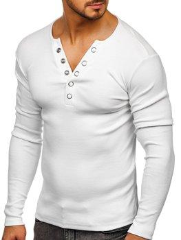 Bílé pánské tričko s dlouhým rukávem bez potisku Bolf 145362