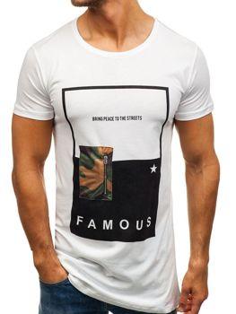 Bílé pánské tričko s potiskem Bolf 1014