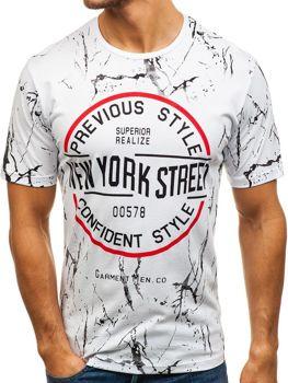 d5ddc0ba9913 Bílé pánské tričko s potiskem Bolf 6301