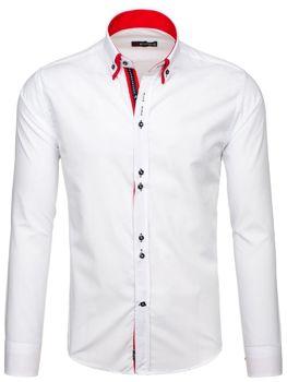 Bílo-červená pánská elegantní košile s dlouhým rukávem Bolf 4727-1