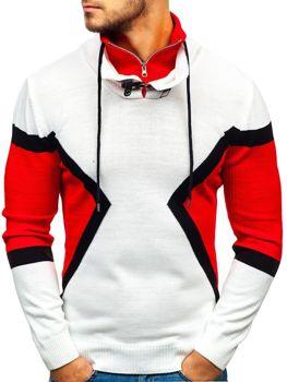 Bílo-červený pánský svetr Bolf 1011