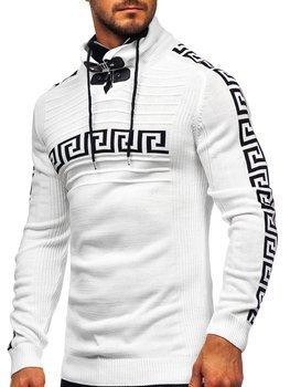 Bílý silný pánský svetr s vysokým límcem Bolf 1052