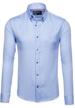 Blankytná pánská elegantní košile s dlouhým rukávem Bolf 5803