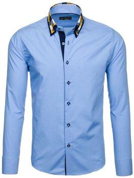 Blankytná pánská elegantní košile s dlouhým rukávem Bolf 6966