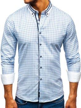Blankytná pánská elegantní kostkovaná košile s dlouhým rukávem Bolf 8808
