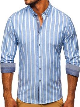 Blankytná pánská pruhovaná košile s dlouhým rukávem Bolf 20705