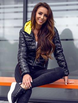 Černá dámská prošívaná přechodová bunda s kapucí Bolf R9546