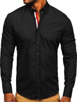 Černá pánská elegantní košile s dlouhým rukávem Bolf 3713