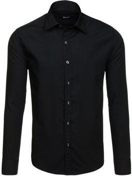 Černá pánská elegantní košile s dlouhým rukávem Bolf 6928-1
