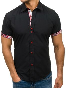 4ab0a719769 Černá pánská elegantní košile s kátkým rukávem Bolf 5205