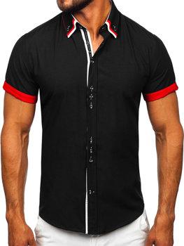 Černá pánská elegantní košile s krátkým rukávem Bolf 2926