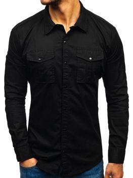 Černá pánská košile s dlouhým rukávem Bolf 2058-1