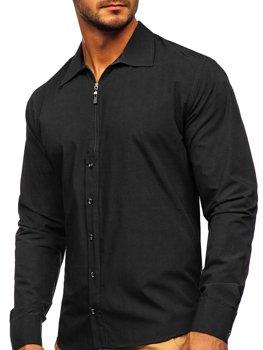 Černá pánská košile s dlouhým rukávem Bolf 20702
