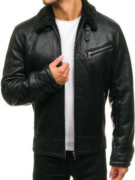 Černá pánská kožená bunda z ekokůže Bolf 3139