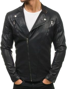 Černá pánská kožená bunda z ekokůže Bolf EX389