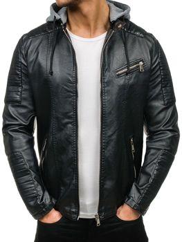 Černá pánská kožená bunda z ekokůže Bolf K321