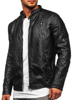 Černá pánská koženková bunda Bolf 5916309