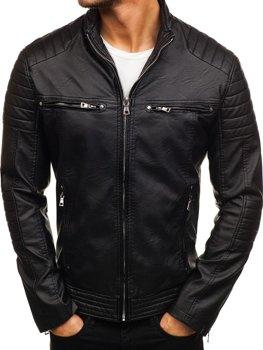 Černá pánská koženková bunda biker Bolf 9103