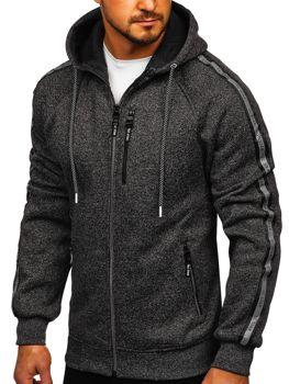 Černá pánská mikina na zip s kapucí Bolf TC1000