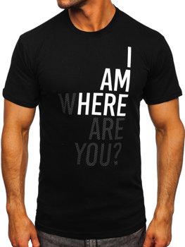 Černé pánské bavlněné tričko s potiskem Bolf 0404