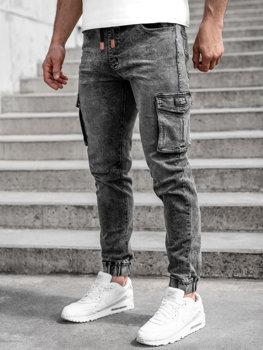 Černé pánské džínové jogger kapsáče Bolf HY899