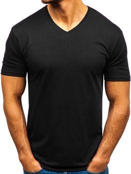 Černé pánské tričko bez potisku s výstřihem do V Bolf 172010-A