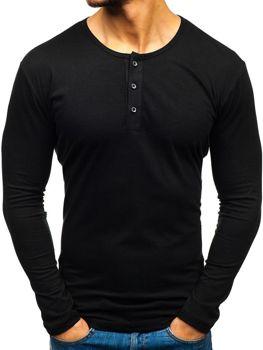 Černé pánské tričko henley s dlouhým rukávem Bolf 1114
