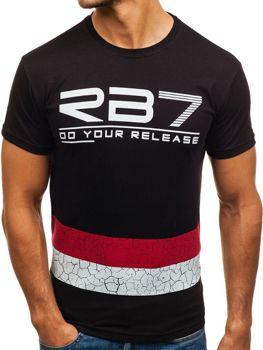 Černé pánské tričko s potiskem Bolf 0008