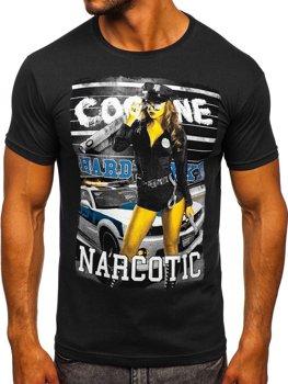 Černé pánské tričko s potiskem Bolf 004