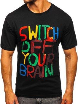 Černé pánské tričko s potiskem Bolf 1181