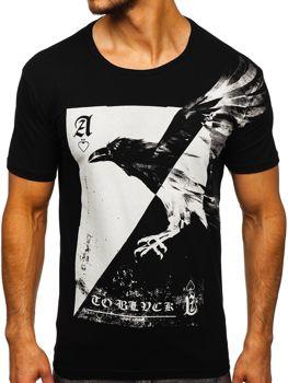 Černé pánské tričko s potiskem Bolf 181210