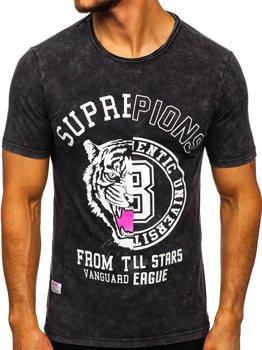 Černé pánské tričko s potiskem Bolf HFM015