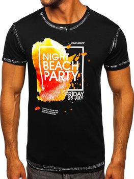 Černé pánské tričko s potiskem Bolf S024