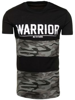 Černé pánské tričko s potiskem Bolf S033