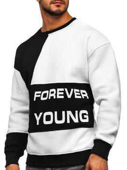 Černo-bílá pánská mikina bez kapuce s potiskem Forever Young Bolf 0002