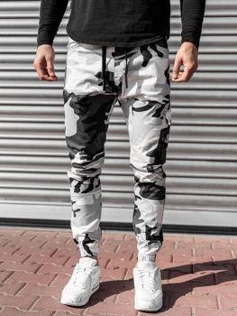 Černo-bílé pánské jogger kalhoty Bolf 11104
