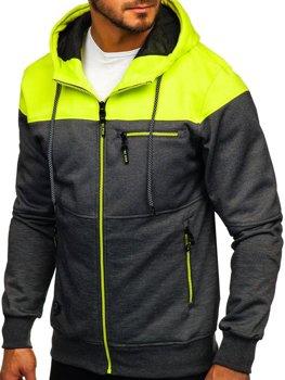Černo-celadonová pánská mikina na zip s kapucí Bolf 2063