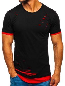 Černo-červené pánské tričko bez potisku Bolf 10999