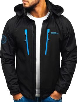 ?erno-modrá pánská softshellová bunda Bolf P132